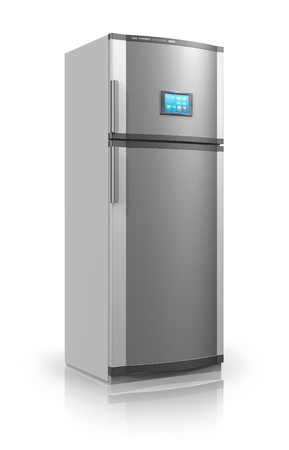 refrigerator: Modern metallic refrigerator with touchscreen interface isolated on white reflective background *** Design is my own and all text labels and numbers are fully abstract