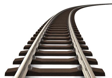 하부 구조: 흰색 배경에 고립 된 단일 곡선 철도 트랙 스톡 사진