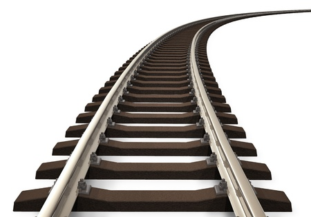 railway transports: Single curved railroad track isolated on white background