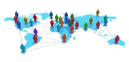 network marketing: Concepto de red social: grupo de figuras humanas de color en el mapa del mundo azul sobre fondo blanco