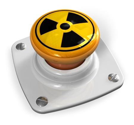 Concept de la guerre nucléaire: la bombe atomique sur le bouton de lancement avec le symbole de rayonnement isolé sur fond blanc