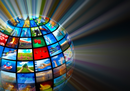channel: Creative media technologies concept  glowing sphere with images on black background   Stock Photo
