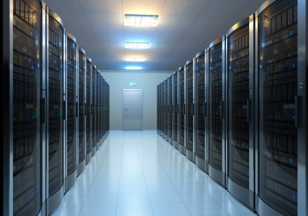 Modern interior of server room in datacenter     photo