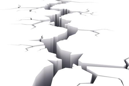 Long deep crack isolated on white background photo