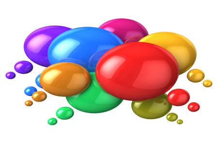 Social networking and media concept  glossy colorful speech bubbles isolated on white background