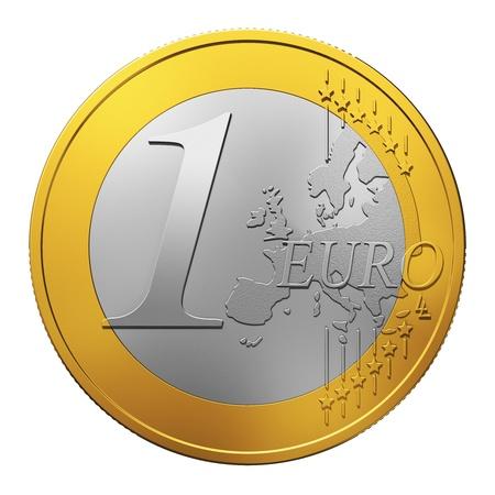 dinero euros: Una moneda de euro aisladas sobre fondo blanco Foto de archivo