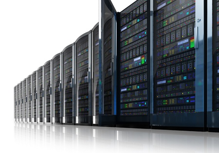 server rack: Row of network servers in data center isolated on white reflective background     Stock Photo