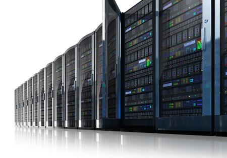 rechenzentrum: Row von Netzwerk-Servern in Rechenzentren auf wei�en reflektierenden Hintergrund isoliert