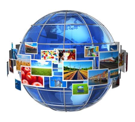 concept images: Telecomunicazioni e media concetto tecnologie nuvola di phots colorati intorno globo blu della Terra vetro isolato su sfondo bianco