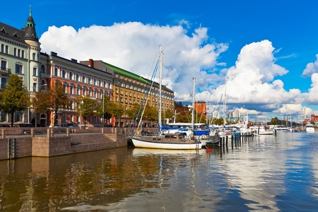 helsinki: Old port pier in Katajanokka district in Helsinki, Finland Stock Photo