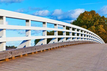 Close view of wooden bridge in Helsinki, Finland
