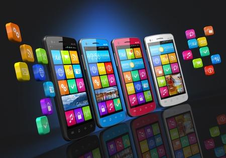 Mobiele communicatie en sociale netwerken begrip rij van touchscreen smartphones met wolk van pictogrammen voor toepassingen die op zwarte achtergrond met bezinning effect