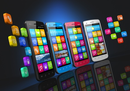 Mobile communications and social networking concept  row of touchscreen smartphones with cloud of application icons isolated on black background with reflection effect photo