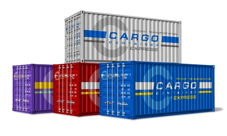 Group of cargo containers isolated on white background   photo