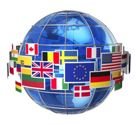 Wereldwijd internationale communicatie concept wolk van kleurige vlaggen staat rond blauw glas aarde wereld op een witte achtergrond