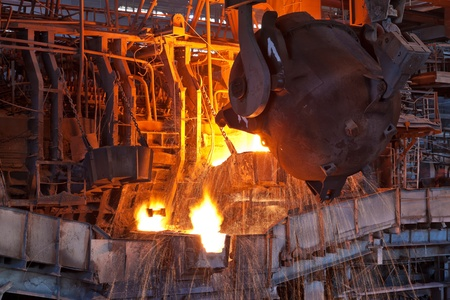 metallurgical: Open hearth furnace in the metallurgical plant Stock Photo