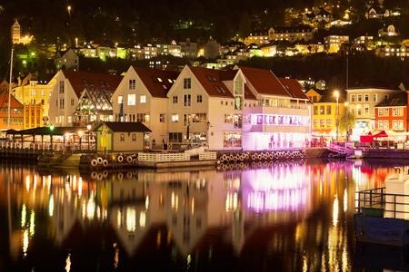 historical reflections: Wonderful night scenery of Bergen, Norway