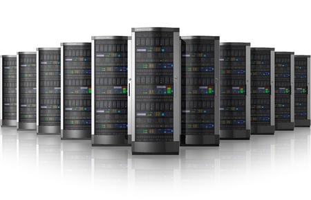 하부 구조: 데이터 센터의 네트워크 서버의 행 반사 효과와 흰 배경에 고립