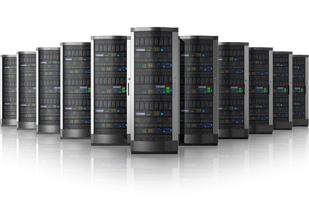 server rack: Row of network servers in data center isolated on white background with reflection effect   Stock Photo
