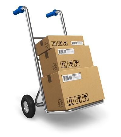 送料: 段ボールのパッケージ ボックスが白い背景で隔離の金属の手トラック 写真素材