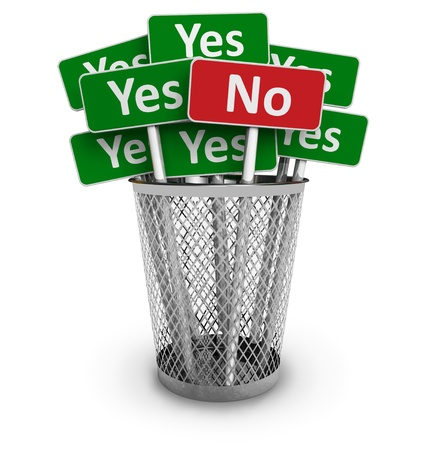 protest signs: Voting concept  No sign among group of Yes signs in metal office bin isolated on white background