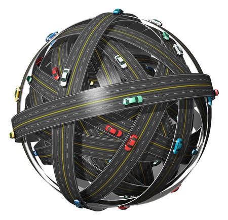 Travel, transportation and GPS navigation concept: ball of roads with color cars isolated on white background photo