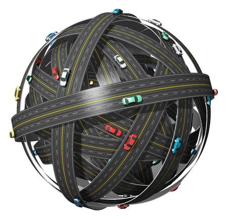 gps navigation: Viajes, transporte y concepto de navegaci�n GPS: bola de carreteras con los coches de color sobre fondo blanco