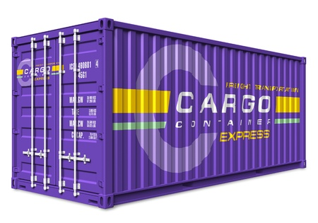 Violet cargo container isolated on white background  photo