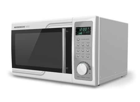 Microwave oven isolated on white background     NOTE  Design is my own and all text labels and numbers are fully abstract photo