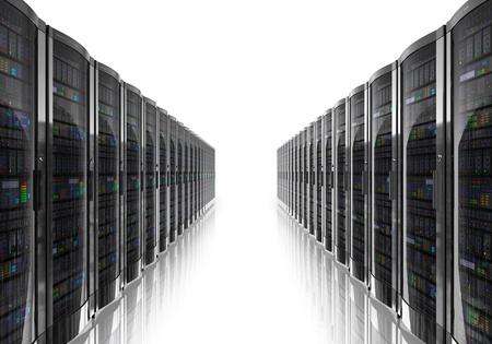 Interior de la sala de servidores aislados en blanco reflectante NOTA Diseño de fondo es el mío y todas las etiquetas de texto y los números son totalmente abstracta Foto de archivo