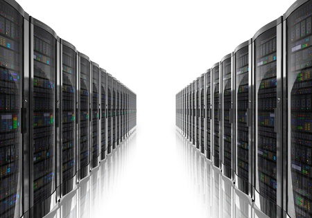 Server room interior isolated on white reflective background NOTE Design is my own and all text labels and numbers are fully abstract Reklamní fotografie