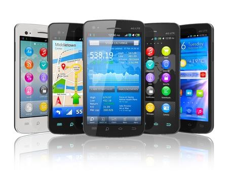 touchscreen: Juego de smartphones con pantalla t�ctil aislados en blanco de dise�o reflexivo NOTA fondo es el m�o y todas las etiquetas de texto y los n�meros son totalmente abstracta