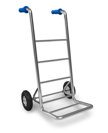 Metal empty hand truck isolated on white background photo
