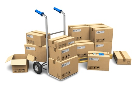 Heap of cardboard boxes with packaged goods and hand truck isolated on white background NOTE Design is my own and all text labels, numbers and barcodes are fully fictional