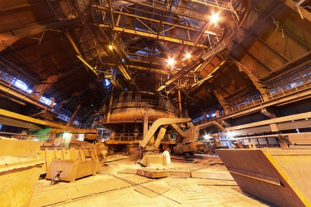 Panorama of blast furnace workshop of metallurgical plant photo