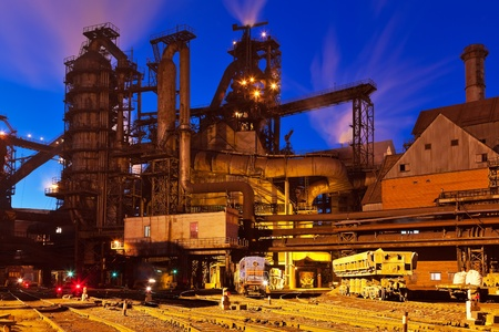 works: Blast furnace equipment of the metallurgical plant at night