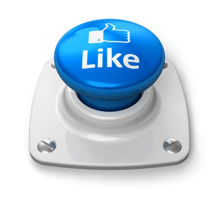 Social media and network concept: blue Like button isolated on white background photo