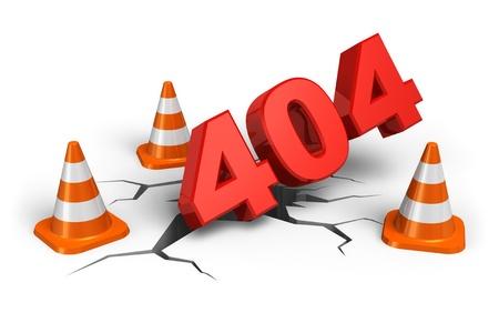 bollard: 404 webpage error concept isolated on white background Stock Photo