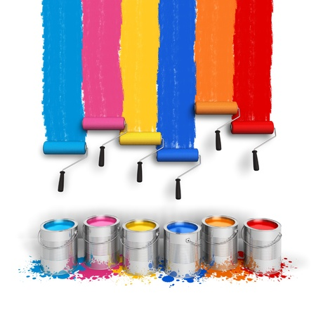 Creativity concept  set of color roller brushes with trails of paint on the wall and metal cans with oil paint isolated on white background photo