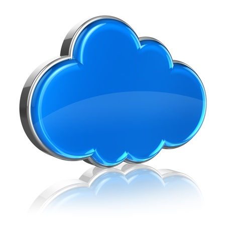 Cloud computing concept - blue glossy cloud icon isolated on white background with reflection effect