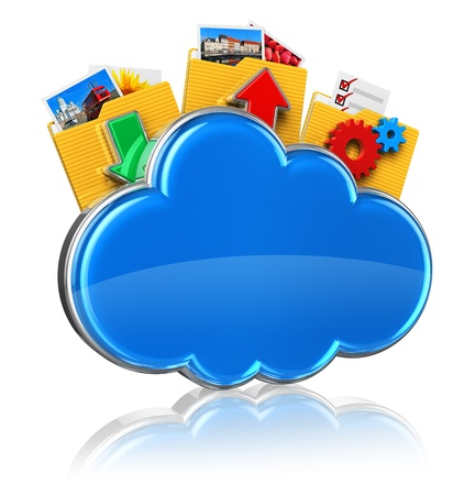 computer applications: Cloud computing internet concept  blue glossy cloud icon and folders with colorful pictures isolated on white background with reflection effect     All photos used here are my own from my own portfolio