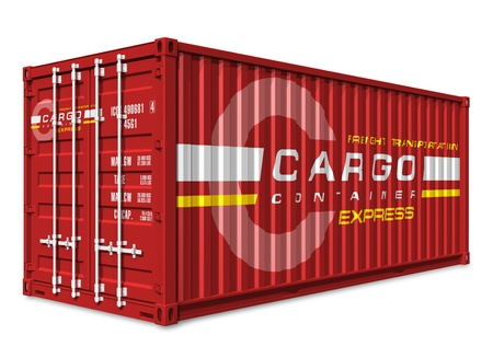 seafreight: Red cargo container isolated on white background     Design is my own and all text labels are fully abstract Stock Photo