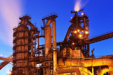 Night view of blast furnace equipment of the metallurgical plant