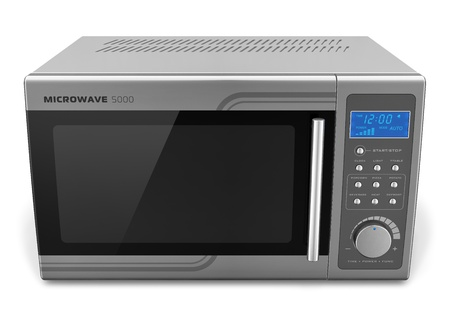 microwave oven: Microwave oven isolated on white background     Design is my own and all text labels are fully abstract Stock Photo