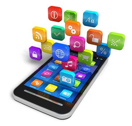 Touchscreen smartphone met wolk van kleurrijke pictogrammen voor toepassingen op een witte achtergrond Design is mijn eigen en alle tekst labels zijn volledig abstract