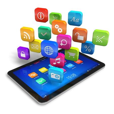 Tablet PC con la nuvola di icone delle applicazioni colorate isolato su sfondo bianco disegno è la mia e tutte le etichette di testo sono completamente astratti