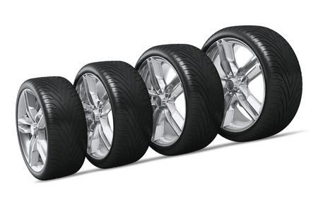 ruedas de coche: Conjunto de cuatro ruedas de los coches aislados sobre fondo blanco