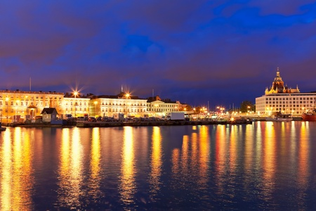 Scenic night panorama of the Old Town pier and Market Square in Helsinki, Finland photo