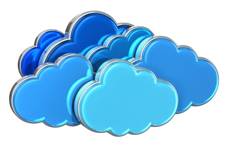 Cloud computing concept: group of blue glossy clouds isolated on white background photo