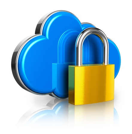 Cloud computing internet security concept: blue glossy cloud icon with golden padlock isolated on white background with reflection effect